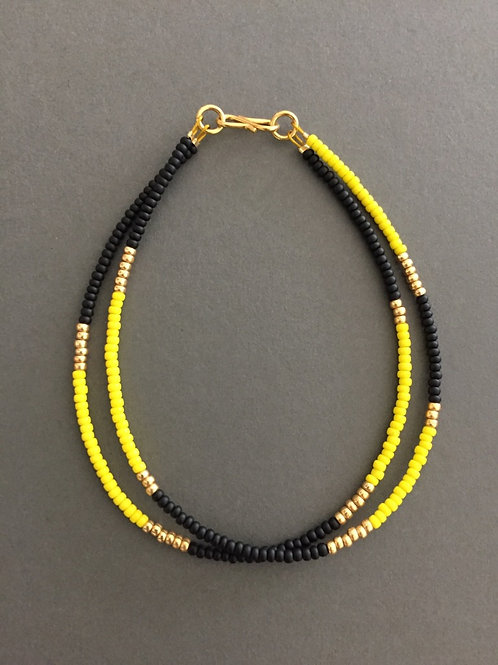 Yellow, black and gold 2 string bracelet