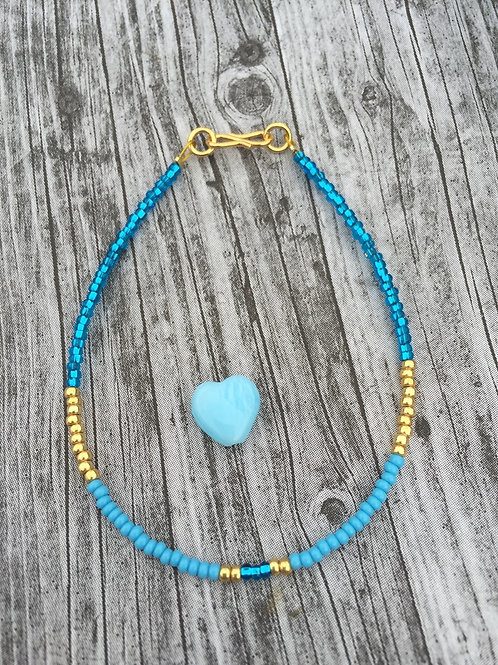 OOAK one string bracelet in gold & turquoise