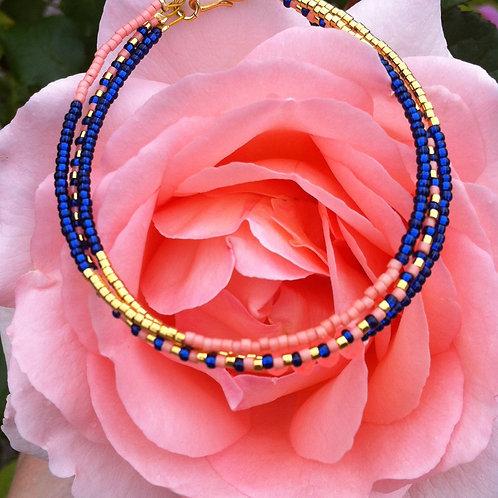 Blue, rose and gold 3 stringbracelet