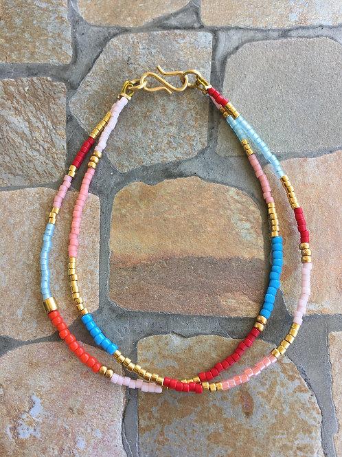 Multi coloured 2 string bracelet