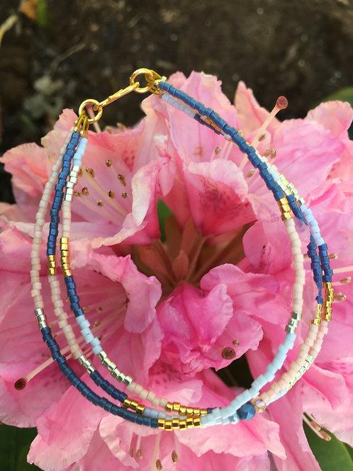 Denim, rose, gold and light blue