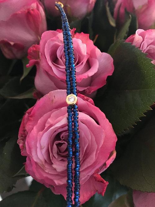Navy gold 2 string with Swarovski crystal