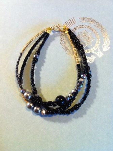 Black and gold 3 string chunky bracelet