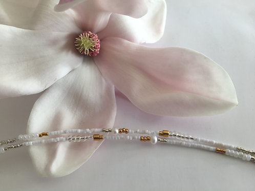 2 string white, gold and silver bracelet