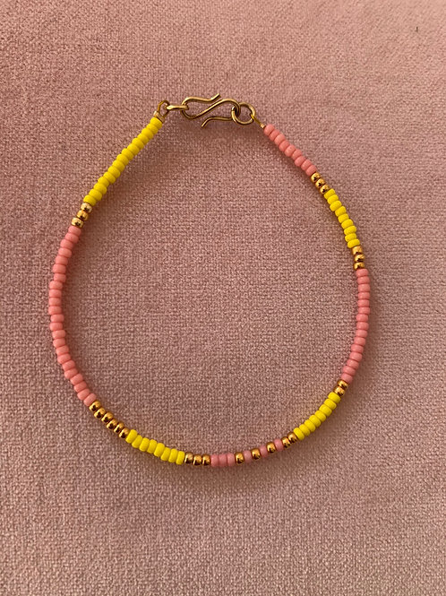 Yellow, pink and gold bracelet one string bracelet