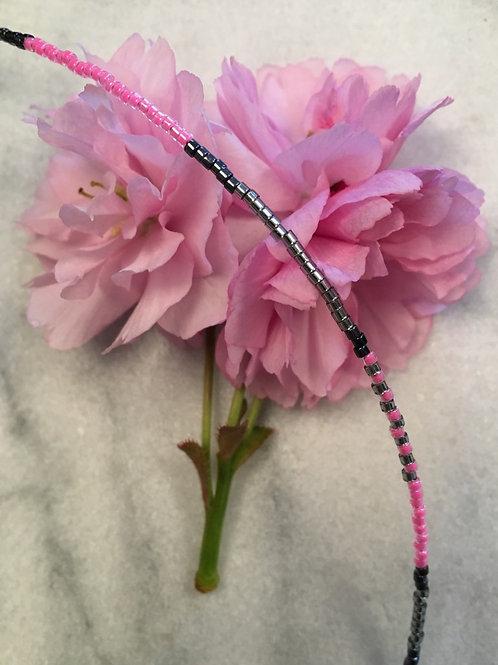 Grey pink 1 string bracelet