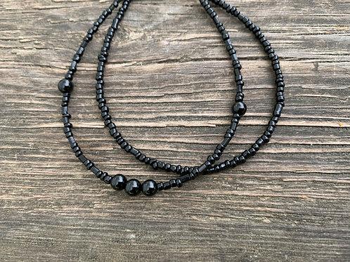 All black 2 string bracelet