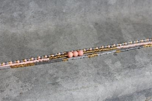 Grey, coral and gold 3 string bracelet