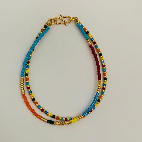 Multicolor summer bracelet in happy colors 2 strings