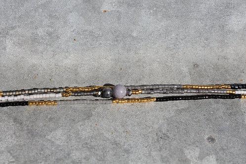 Grey, gold and black 3 string bracelet