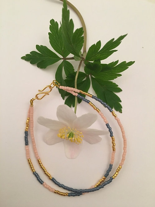 Denim, rose and gold 2 string bracelet