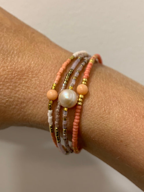 Coral, rose & gold bracelet with freshwater pearl