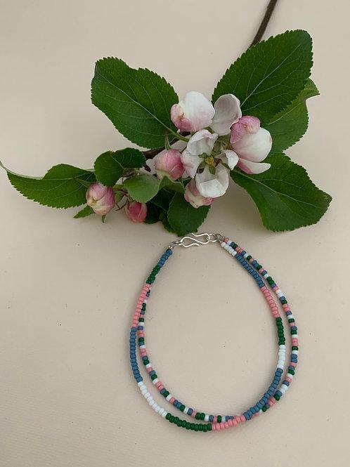 Multicolor rose, green, white & blue
