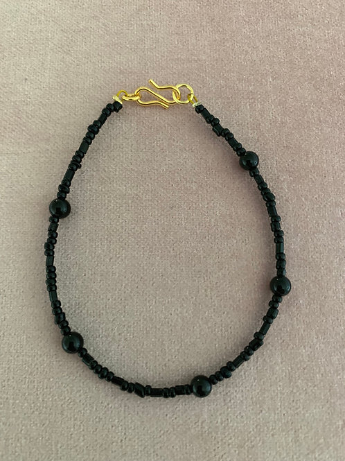 Pure black onyx bracelet one string
