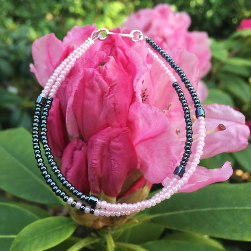 Rose and grey 2 string bracelet with silver closing