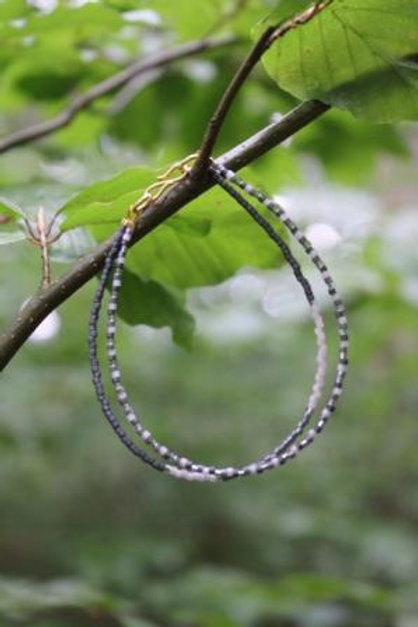 Grey, gold and light rose bracelet of 2 strings