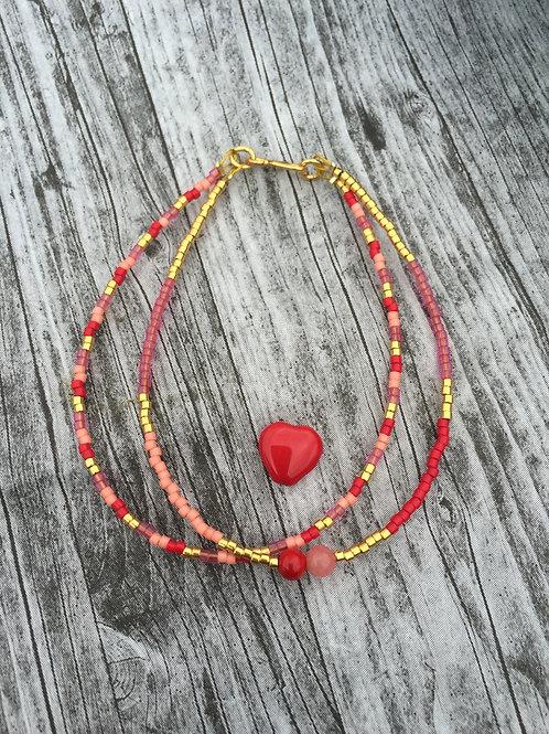 Red, orange, rose and gold 2 string bracelet