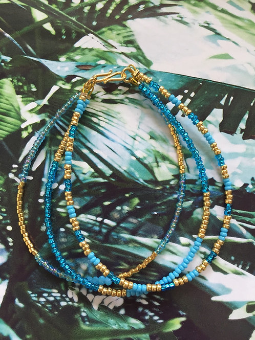Turquoise & gold bracelet 3 strings