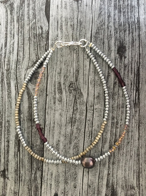 Silver, grape/ purple, beige and silver 2 string with pearl