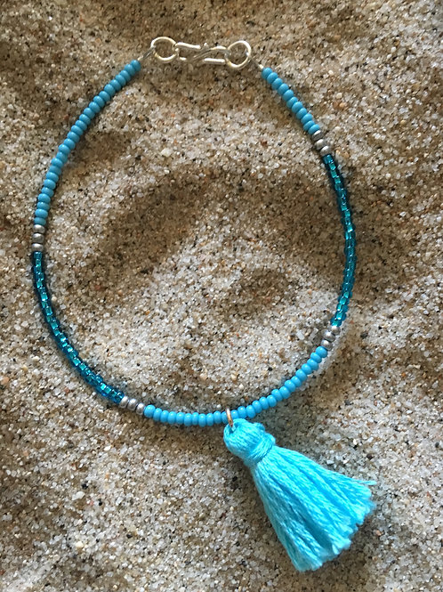 Turquoise and silver tassel bracelet