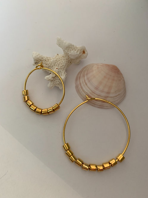 Creol earrings in gold-plated Sterling Silver and beads (a pair) small