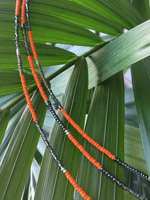 Orange and grey 3 string bracelet