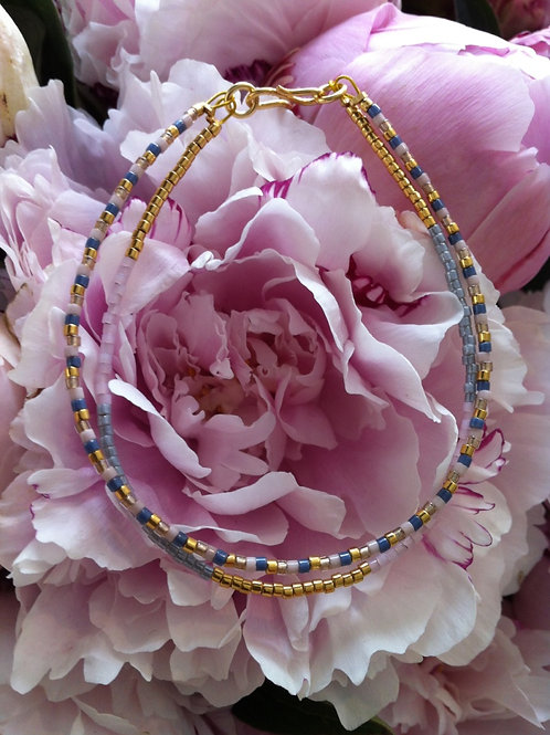 Denim, pastels and gold bracelet 2 strings