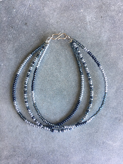 Silver and grey 3 string bracelet