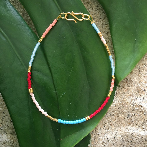 Multi color turquoise, red, rose and gold