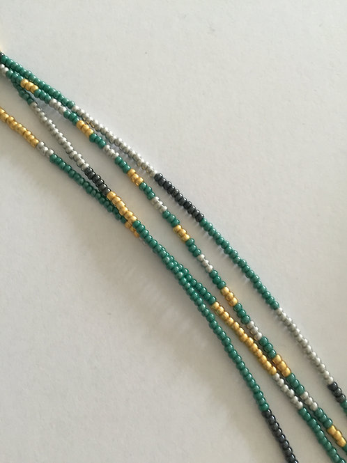 Green, gold, silver and grey multicolor with 4 strings