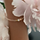 Thumbnail: Pale rose gold 1 string bracelet with coral and freshwaterpearl
