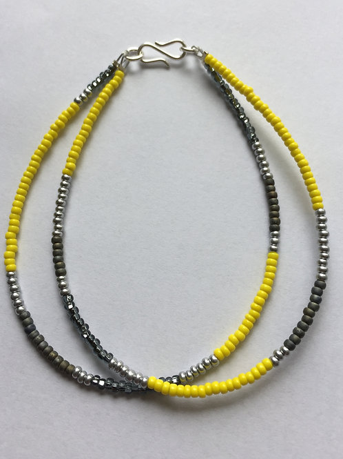 Yellow, grey and silver2 string bracelet