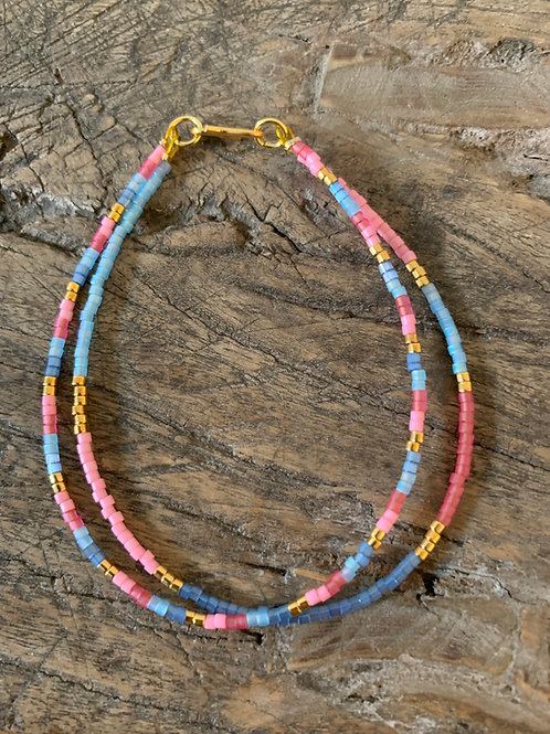 Blue, pink & gold striped bracelet