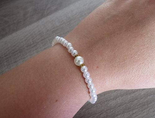 """Bracelet """"Perle de nacre"""", doré"""