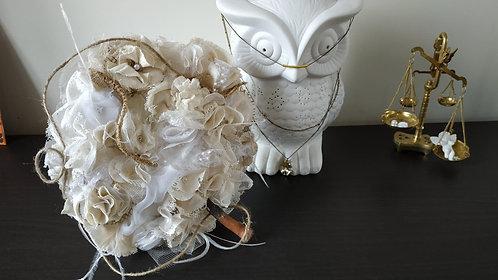"""Bouquet de mariée """" Dentelle One """" toile de jute, bois, dentelle, lin"""