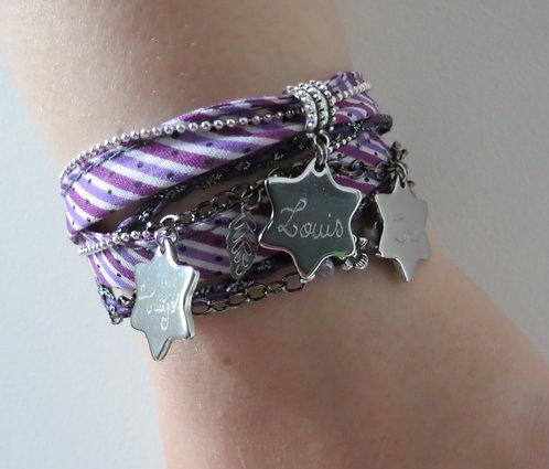 """Bracelet """" Etoiles Gravées"""".~*gravure et coloris au choix"""