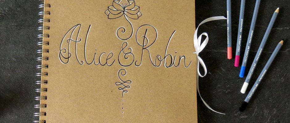 """Livre d'or """"Alice & Robin"""" mariage,  illustré à votre goût"""