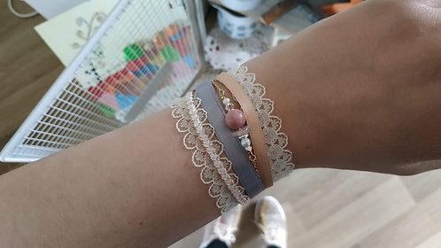 """Bracelet """"Dentelle Gemme"""" rose poudré, gris, doré"""