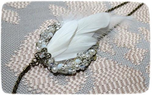 "Headband ""Feary White"" blanc, transparent, bronze"