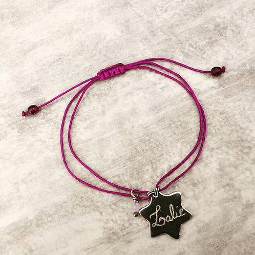 """Bracelet """" Stars"""".~*gravure et coloris du cordon + perles au choix"""