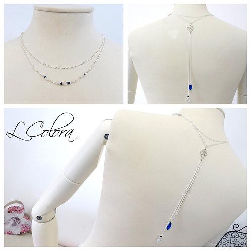 """Bijoux / Collier de Dos """"Saphir"""" nacré ivoire, bleu marine, saphir, cristal"""