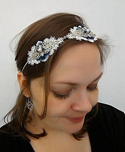 "Headband ""Saphir"".~* argenté,bleu marine, blanc nacré"