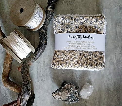 X6 Lingettes lavables - éponge bambou, coton
