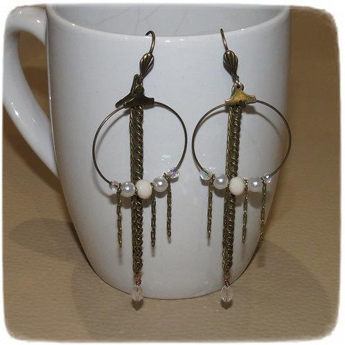 """Boucles d'oreilles """"Coor-On, Bronze, ivoire"""