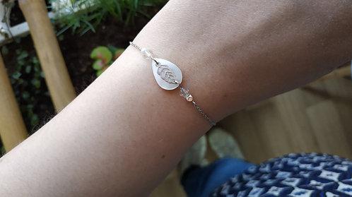 """Bracelet """"Dreamcatcher"""" blanc, nacre, feuille"""