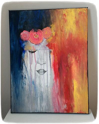 """Peinture sur toile, """"Nina Roz"""" visage, inspiration romantique"""