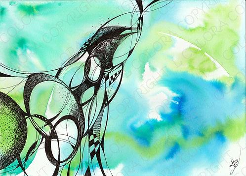 EAU - Aquarelle originale
