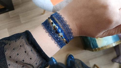 "Bracelet ""Dentelle Gemme"" bleu, doré"