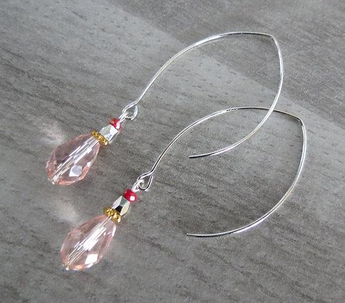 """Boucles d'oreilles """"Accroche-Coeur"""" ( Laiton, perle de verre)"""