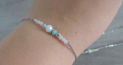 """Bracelet """"blue"""", perle de verres, acier inoxydable"""